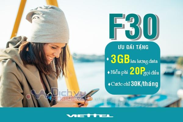 Đăng ký gói F30 Viettel nhận 3GB và Free 20 phút gọi đầu
