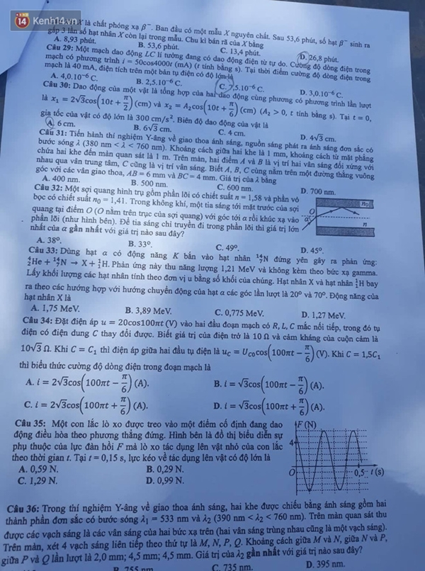 Đề thi và đáp án môn Vật Lý tất cả các mã đề kỳ thi THPT Quốc gia 2019