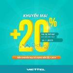 Viettel khuyến mãi tặng 20% giá trị thẻ nạp ngày vàng 10/7/2019