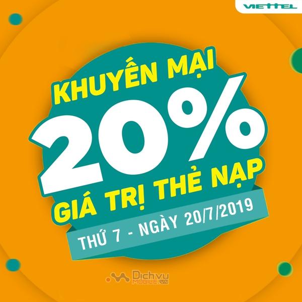 Viettel khuyến mãi tặng 20% giá trị thẻ nạp ngày 20/7/2019