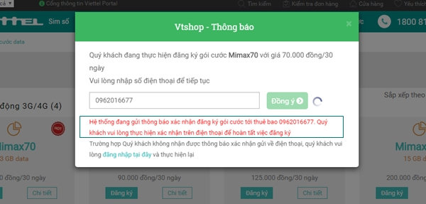 đăng ký các gói cước 3G của Viettel