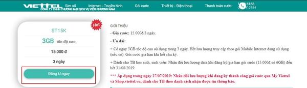 Cách đăng ký gói ST15K Viettel qua Shop Viettel
