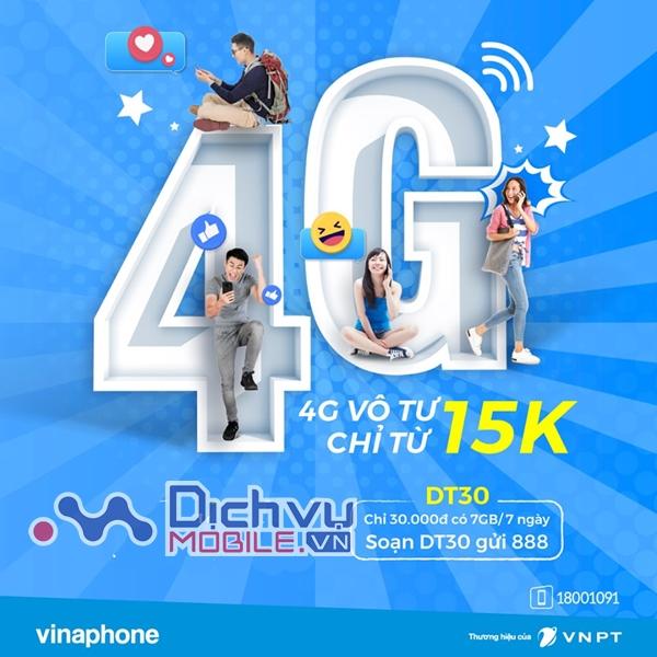 Đăng ký gói 4G DT30 Vinaphone nhận 7GB chỉ 30,000đ