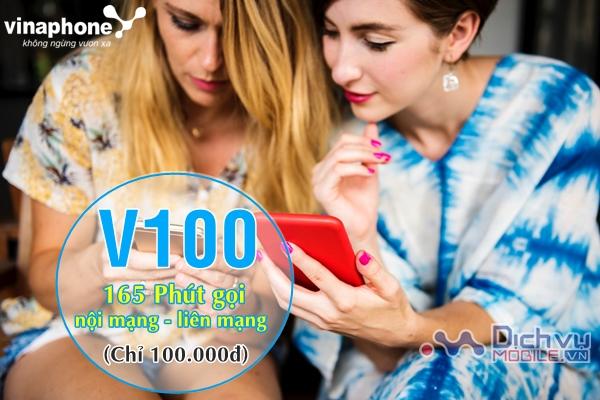 Đăng ký gói V100 Vinaphone nhận 165 phút thoại trong nước