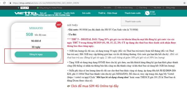 Hướng dẫn đăng ký gói cước Mimax90 trên Shop Viettel