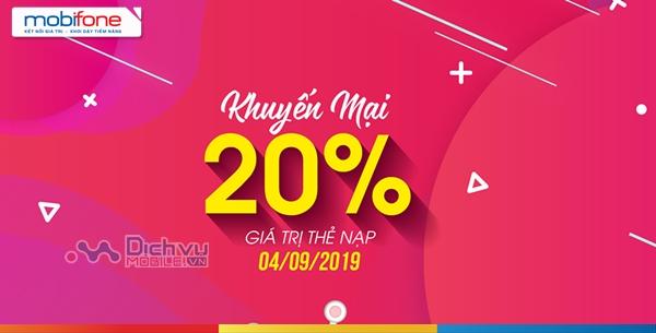 Mobifone khuyến mãi 20% giá trị thẻ nạp ngày vàng 11/9/2019