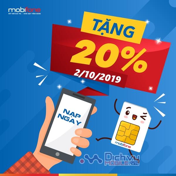 Mobifone khuyến mãi tặng 20% giá trị thẻ nạp ngày 2/10/2019