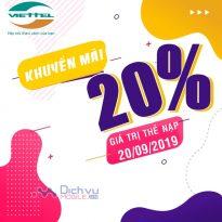 Viettel khuyến mãi 20% giá trị thẻ nạp ngày vàng 20/9/2019