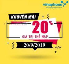 Vinaphone khuyến mãi 20% giá trị thẻ nạp ngày 20/9/2019