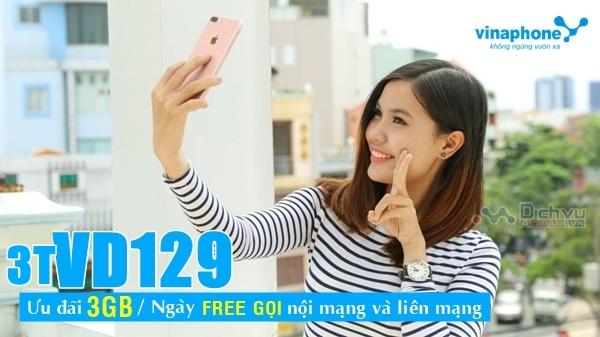 Đăng ký gói 3TVD129 Vinaphone nhận 270GB, free gọi suốt 90 ngày