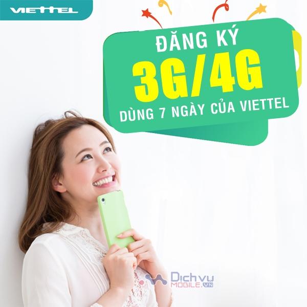 Hướng dẫn đăng ký gói cước 3G/4G Viettel 7 ngày ưu đãi cực khủng