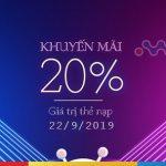 Mobifone khuyến mãi trực tuyến: Tặng 20% giá trị thẻ nạp ngày 22/9/2019