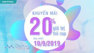Viettel khuyến mãi 20% giá trị thẻ nạp duy nhất ngày 10/9/2019