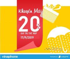 Vinaphone khuyến mãi 20% giá trị thẻ nạp ngày 17/9/2019