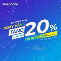 Vinaphone khuyến mãi 20% giá trị thẻ nạp ngày vàng 6/9/2019