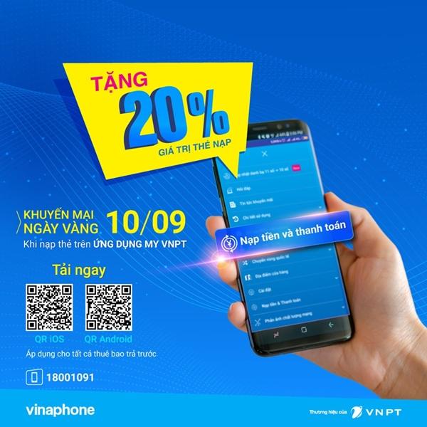 Vinaphone khuyến mãi 20% giá trị thẻ nạp qua MY VNPT ngày 10/9/2019