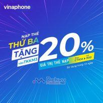 Vinaphone khuyến mãi 20% giá trị thẻ nạp thứ 3 vui vẻ tháng 9/2019