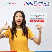 Mobifone khuyến mãi 20% giá trị thẻ nạp toàn quốc ngày 6/11/2019
