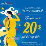 Mobifone khuyến mãi ngày vàng: Tặng 20% thẻ nạp duy nhất 23/10/2019