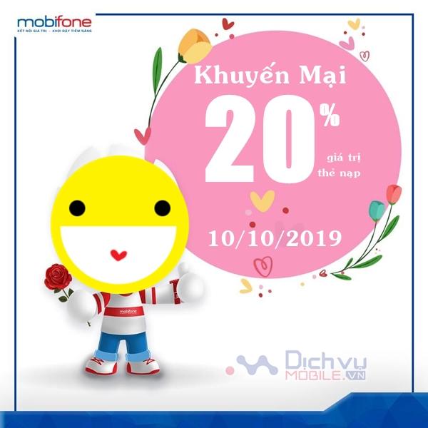Mobifone khuyến mãi 20% giá trị thẻ nạp ngày vàng 10/10/2019