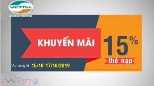 Viettel khuyến mãi 15% thẻ nạp từ ngày 15/10 đến 17/10/2019