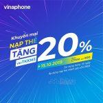 Vinaphone khuyến mãi 20% giá trị thẻ nạp ngày 15/10/2019