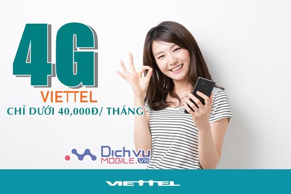 Các gói 4G Viettel dưới 40k mỗi tháng ưu đãi từ 1,2GB đến 2GB