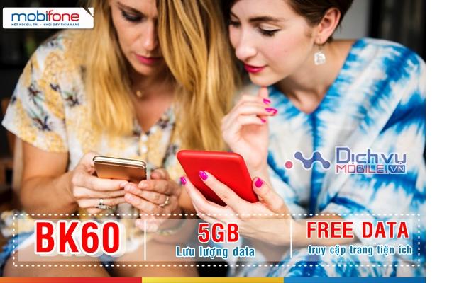 Đăng ký gói BK60 Mobifone nhận 5GB và free data tiện ích chỉ 60,000đ