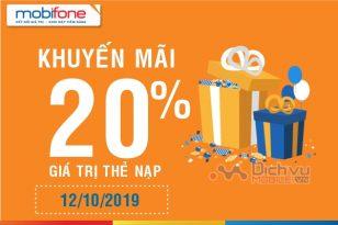 Mobifone khuyến mãi 20% thẻ nạp ngày 12/10/2019