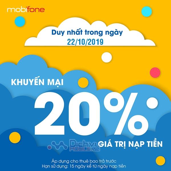 Mobifone khuyến mãi 20% thẻ nạp ngày 22/10/2019