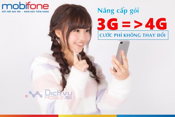 Cách nâng cấp từ gói 3G Mobifone lên gói 4G Mobifone cước không đổi