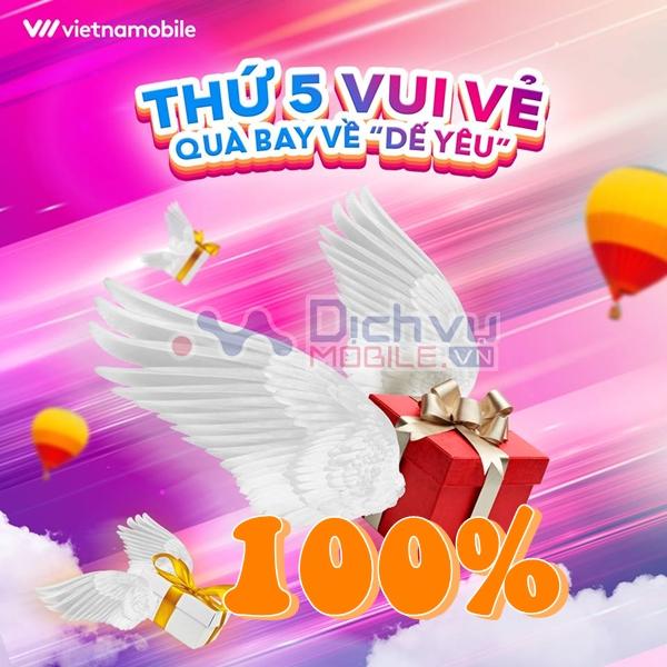 Vietnamobile khuyến mãi 100% giá trị thẻ nạp ngày 31/10/2019