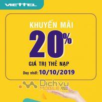 Viettel khuyến mãi tặng 20% giá trị thẻ nạp ngày vàng 10/10/2019