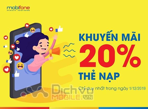 Mobifone khuyến mãi 20% thẻ nạp ngày 1/12/2019