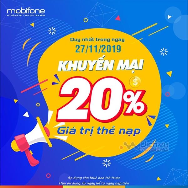 Mobifone khuyến mãi 20% giá trị thẻ nạp ngày 27/11/2019