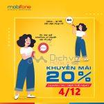 Mobifone khuyến mãi toàn quốc, tặng 20% thẻ nạp ngày 4/12/2019