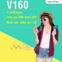 Hướng dẫn đăng ký gói V160 Viettel có 1,5GB/ ngày, miễn phí thoại