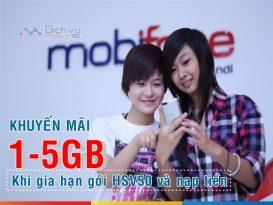 Mobifone khuyến mãi tặng đến 5GB khi gia hạn và nạp tiền gói HSV50
