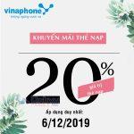 Vinaphone khuyến mãi 20% giá trị thẻ nạp ngày vàng 6/12/2019