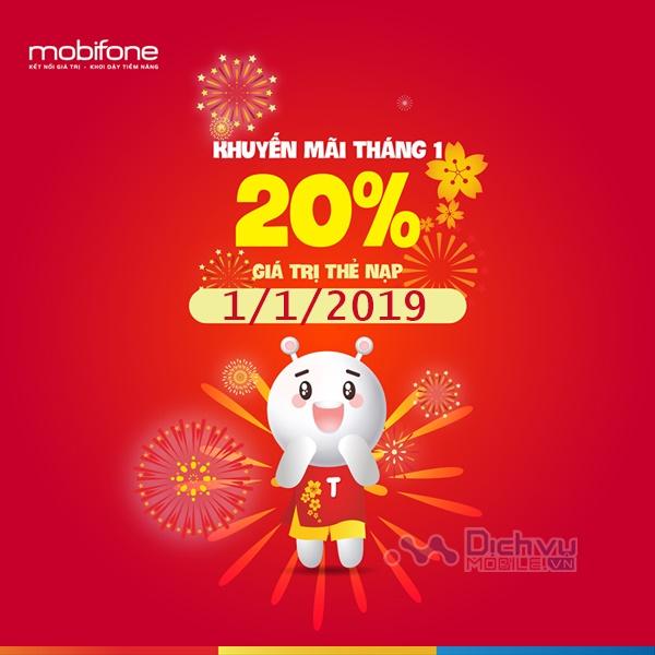 Chúc mừng năm mới: Mobifone khuyến mãi 20% giá trị thẻ nạp ngày 1/1/2020