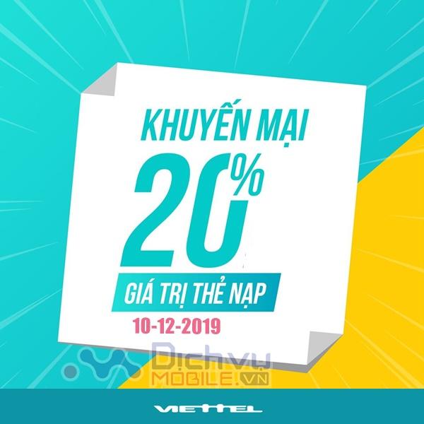 Viettel khuyến mãi 20% giá trị thẻ nạp ngày vàng 10/12/2019 toàn quốc
