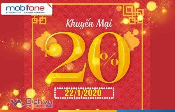 HOT: Mobifone tặng 20% thẻ nạp ngày 22/1/2020 trên toàn quốc