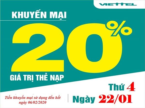 Viettel khuyến mãi 20% thẻ nạp ngày 22/1/2020