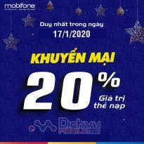 Mobifone khuyến mãi 20% giá trị thẻ nạp ngày 17/1/2020