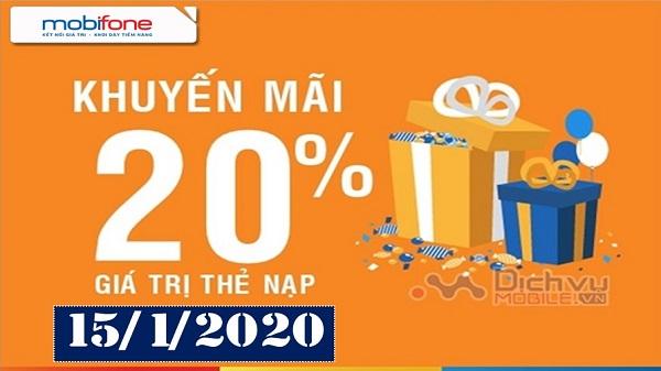 mobifone khuyen mai 20% the nap ngay 15-1-2020