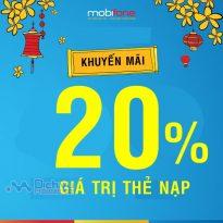 Mobifone khuyến mãi 20% thẻ nạp ngày 29/1/2020 trên toàn quốc