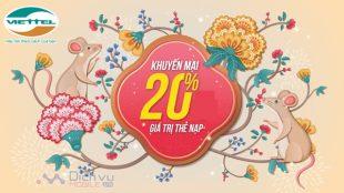 Viettel khuyến mãi 20% giá trị thẻ nạp ngày vàng 10/1/2020