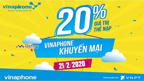 Vinaphone khuyen mai the nap ngay 21-2