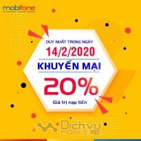 Mobifone khuyến mãi 20% giá trị thẻ nạp ngày vàng 14/2/2020