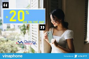 Vinaphone khuyến mãi 20% thẻ nạp ngày vàng 7/2/2020